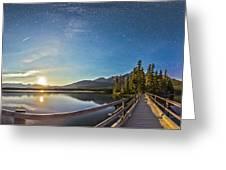 Night Sky Panorama Of Pyramid Lake Greeting Card