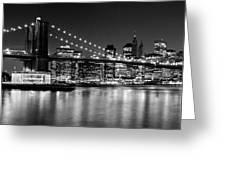 Night Skyline Manhattan Brooklyn Bridge Bw Greeting Card by Melanie Viola
