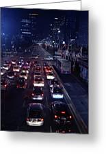 Night Skyline Of Jakarta Indonesia 2 Greeting Card