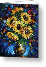 Night Sunflowers Greeting Card
