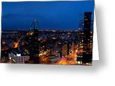 Night Tallinn City Line Panorama Greeting Card
