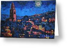 Night Time View Of Cork City Greeting Card