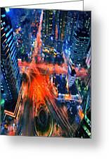 Night Traffic  Greeting Card