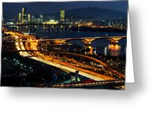 Night Traffic Over Han River In Seoul Greeting Card