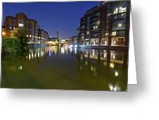 Night View Across River Avon To Temple Bridge Bristol England Greeting Card