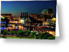 Night View Inner Harbor Greeting Card