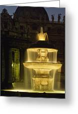 Night View Of A Fountain Outside Saint Greeting Card