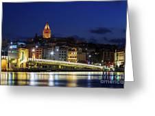 Night View Of Galata Bridge And Galata Tower. Greeting Card