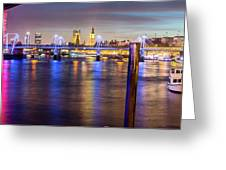 Night View Of Hungerford Bridge And Golden Jubilee Bridges London Greeting Card
