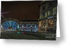 Night View Of Smithfield Market In North London Greeting Card
