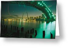 Night View Of St. Louis, Mo Greeting Card by Michael S. Lewis