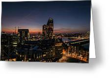 Night View Of The City Of London Greeting Card