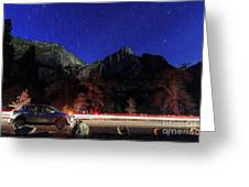 Night View Of The Upper And Lower Yosemite Fall Greeting Card