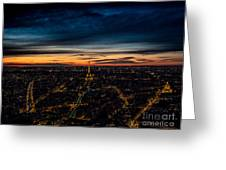 Night View Over Paris With Eiffel Tower Greeting Card