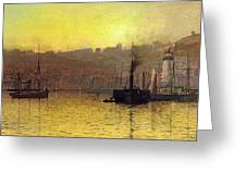 Nightfall In Scarborough Harbour Greeting Card