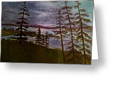 Nightime Rangely Lake Maine Greeting Card