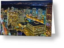 Nightlife On The Other End Of Robson Street Greeting Card