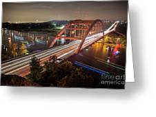 Nighttime Boats Cruise Up And Down The Loop 360 Bridge, A Boaters Paradise With Activities That Include Boating, Fishing, Swimming And Picnicking - Stock Image Greeting Card