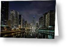 Nighttime Chicago River And Skyline View Greeting Card