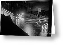 Nighttime Street Scene With Traffic Greeting Card