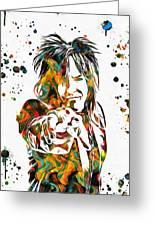 Nikki Sixx Paint Splatter Greeting Card