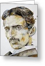 Nikola Tesla - Watercolor Portrait.6 Greeting Card