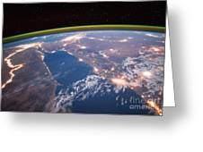 Nile River At Night From Iss Greeting Card