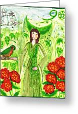 Nine Of Pentacles Illustrated Greeting Card