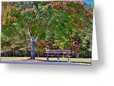 Ninety Six National Historic Site Bench In Autumn  Greeting Card