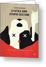 No893 My A Futile And Stupid Gesture Minimal Movie Poster Greeting Card
