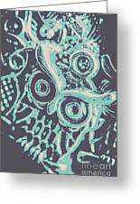 Nocturnal The Blue Owl Greeting Card