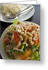 Noodles With Crab Meat And Peanuts Greeting Card