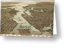 Norfolk And Portsmouth Map Greeting Card
