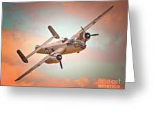 Pacific Princess North American B-25 Mitchell Across Rosy Skies Greeting Card