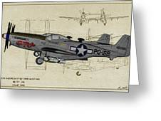 North American F-82b Twin Mustang - Profile Art Greeting Card