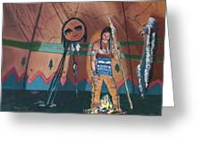 North American Indian Contemplating Greeting Card