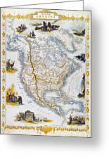 North American Map, 1851 Greeting Card