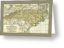 North Carolina Antique Map 1891 Greeting Card