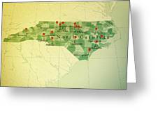 North Carolina Map Square Cities Straight Pin Vintage Greeting Card