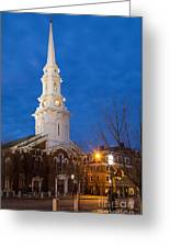 North Church At Twilight, Portsmouth, New Hampshire Greeting Card