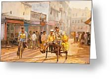 North India Street Scene Greeting Card