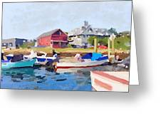 North Shore Art Association At Pirates Lane On Reed's Wharf From Beacon Marine Basin Greeting Card