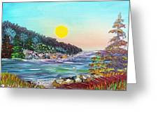 North With Yellow Sun Greeting Card