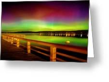 Northern Lights Over Okanagan Lake Canada Greeting Card