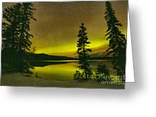 Northern Lights Over The Pines Greeting Card
