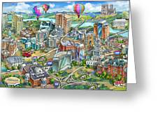 Northern Virginia Map Illustration Greeting Card