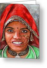 Northindian Woman Greeting Card