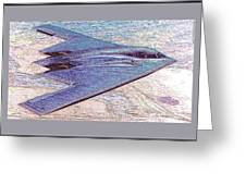 Northrop Grumman B-2 Spirit Stealth Bomber Enhanced With Double Border II Greeting Card
