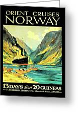 Norway Orient Cruises, Vintage Travel Poster Greeting Card