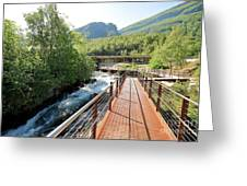 Norwegian Fjord Center In Geiranger Norway Greeting Card